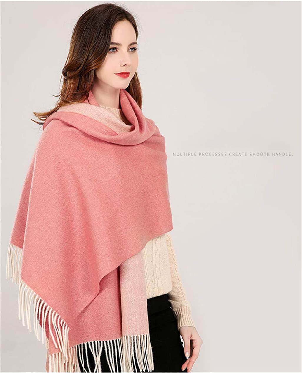 Winter Cashmere Wool Scarf Shawl Wrap for Women Long Large Warm Thick Reversible Scarves Various Colors