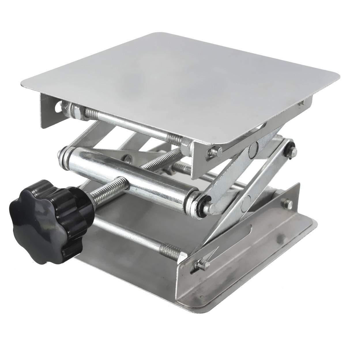 4 x 4'' Stainless Steel Lifting Platform Lab Stand Laboratory Manual Lift Riser Lifter 100x100x150mm