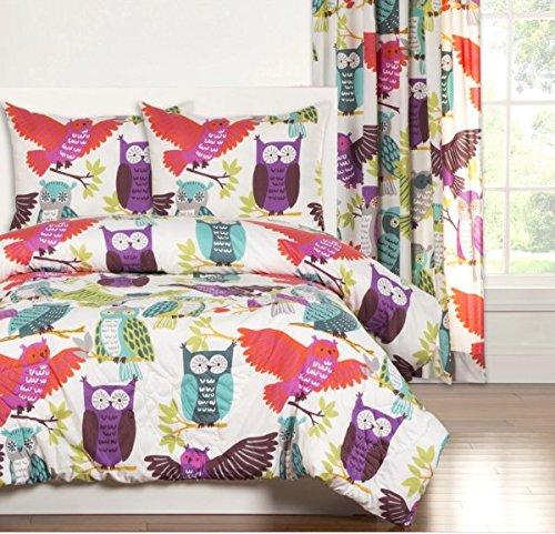 3 Piece Girls Cute Owl Themed Comforter Full Queen Set, A...