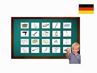 Carte illustrate educativi Bagno - Flashcard Lingua Tedesco - Bildkarten Badezimmer - Size 4.13 × 5.83 inch = DIN A6 (105 x 148 mm)