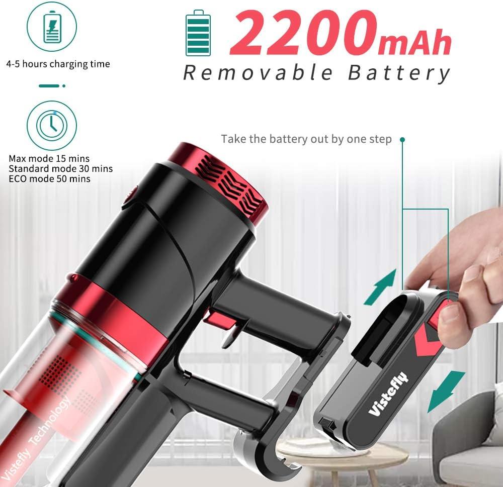 Cepillos con LED Filtro HEPA 23kPA Potente Bater/ía Extra/íble 2200mAh 250W Vistefly VX Aspiradora sin Cable Aspiradora de Mano sin Bolsa 2 en 1 1.2L 3 Niveles de Succi/ón