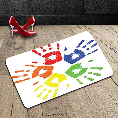 Custom Machine Washable Door Mat Abstract Colorful Group Of Hand Prints World Peace Themed Human Reunion Artistic Design Multicolor Indoor Outdoor Doormat Mat Rug Carpet
