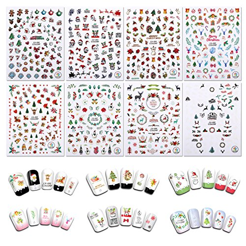 Christmas Nail Stickers, Holody 8 Sheets Cute Art Nail Decals Decorations for Kids and Women]()