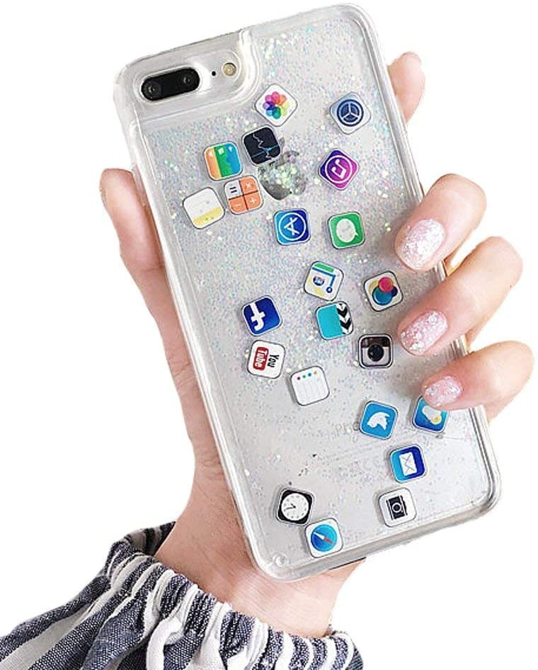 UnnFiko Liquid Glitter Case for iPhone 6s, Hard Back Colorful Bling Quicksand with APP Shine Phone Case for iPhone 6 (Sand Glitter, iPhone 6 / 6s)
