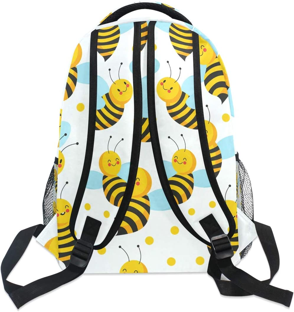 Cute Insect Bees Daypack Backpack School College Travel Hiking Fashion Laptop Backpack for Women Men Teen Casual Schoolbags Canvas