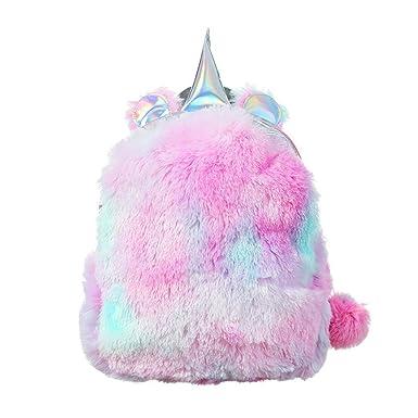 Mini Mochila De Mujer Con Unicornio De Pana Suave De Colorida Backpack De Moda De Peso
