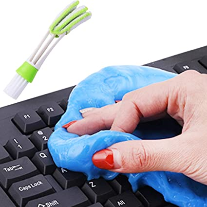 Finegood Limpiador del teclado universal con cepillo, limpieza masilla Gel Limpiador pegajoso de la jalea de la suciedad de limpieza pegamento, ...