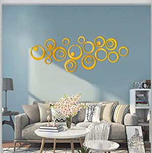 HOODDEAL Acrylic Mirror Style Removable Decal Vinyl Art Wall Sticker Home Decor (24 PCS, Gold)