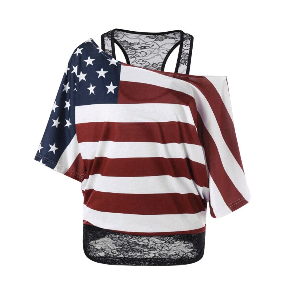 Respctful✿American Flag Clothing for Women Cold Shoulder T-Shirt Summer Short Sleeve Tunic Tops Loose Blouse Shirts