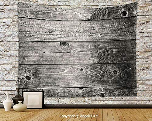 AngelDOU Dark Grey Decorative Hanging Sofa Background Cloth Ombre Style Grunge Wooden Planks Rustic Timber Oak Wall Rough Texture Image Decorative Nordic Style hangings.W59xL51.2(inch)