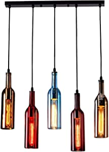SUQIAOQIAO Wine Bottle Glass Modern Pendant Lamps, Chandelier for Kitchen Art Home Deco Dining Table, Champagne Bar Counter Decor Light