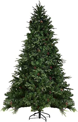 eXXtra Store Artificial Christmas Tree Pine Cones and Hinged with 540 LED Lights 7.5Ft + eBook