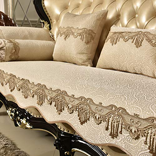 (Jacquard Sofa Cover Couch Protective, Luxury Royal Sofa slipcover Non-Slip Couch Sofa pad Saver Lace for 1 2 3 4 Cushion Sold by Piece-A 68x180cm(27x71inch))
