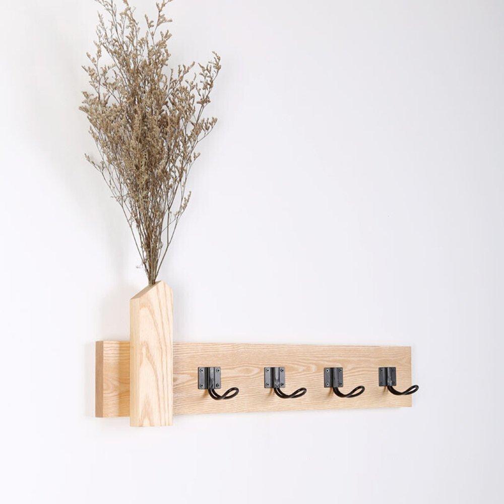 Japanese style hanging hanger / bedroom living room solid wood coat rack / wall hanging / hanging hook / wood decoration hook / ( Size : 56.510cm )