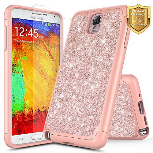 Galaxy Note 3 Case with Screen Protector HD Clear for Girls Women Kids, NageBee Glitter Case Shiny Bling Sparkle Heavy Duty Shockproof Dual Layer Girls Cute Case for Samsung Galaxy Note 3 -Rose Gold (Galaxy Note 3 Face Cover)