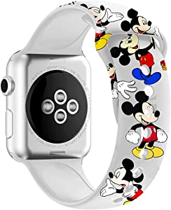 MIADEAL Mickey & Minnie Mouse Bands for Apple Watch, Fit All iWatch Series, 38mm/40mm/42mm/44mm (White 2, 38mm or 40mm)