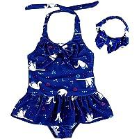 AMIYAN Baby Girls Swimsuit Tankini Bikini Toddlers One Piece Bathing Suit Swimwear Rashguard with Headband