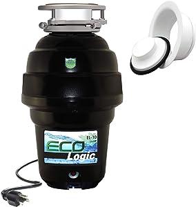 Eco Logic EL-10-DS-WH 10 Designer Series Food Waste Disposer with White Sink Flange, 1-1/4 HP