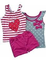Young Hearts Girls 3 PC Outfit Polka Dot Shirt Heart Tank Top & Pink Shorts