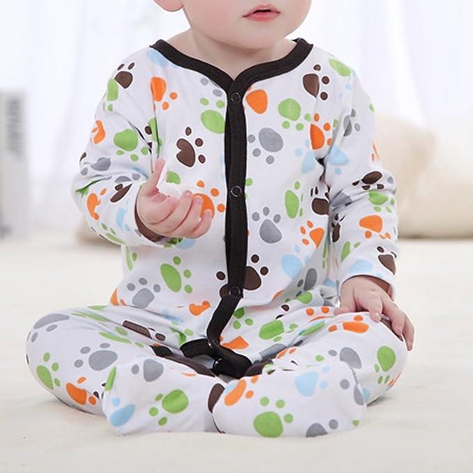 QHGstore Bebé recién nacido durmiente lindo pequeña huella de patas pijama de manga vestido de una sola pieza 10-12 meses: Amazon.es: Bebé