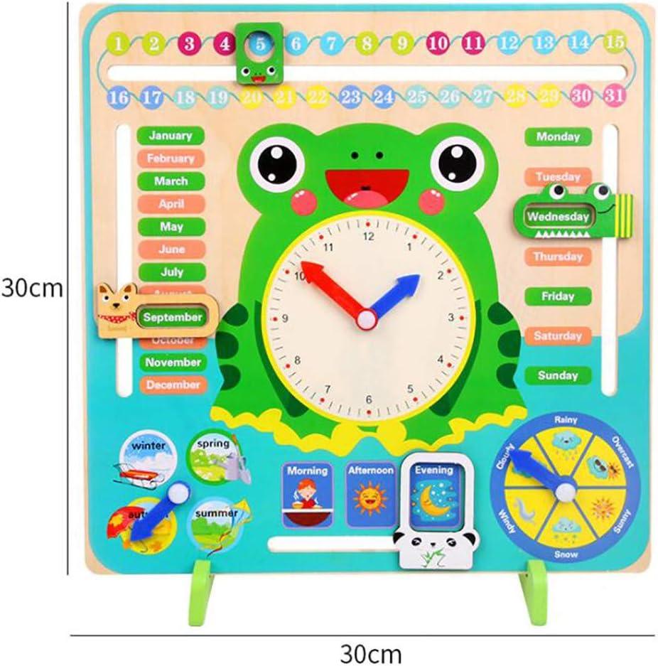 Kids Calendar Board My First Clock PreSchool Educational /& Learning Wooden Toy