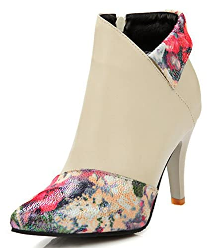 Women's Trendy Floral Pointed Toe High Heels Stiletto Boots Ankle Booties With Zipper