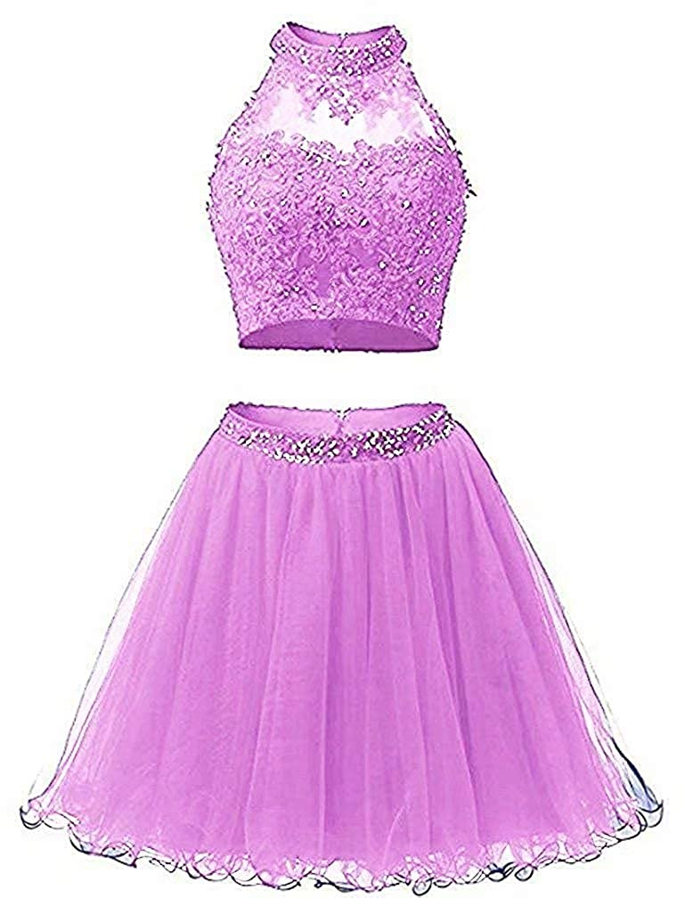 purplec Ubride 2019 Juniors' Short Two Pieces Beaded Halter Prom Homecoming Dress Cocktail Gown