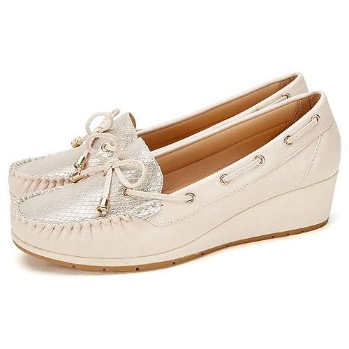 0a9accc8 Zapatos Planos Comodos Náuticos Mujer - Mocasín Cuero de Imitación para  Mujer, la Mejor Opción