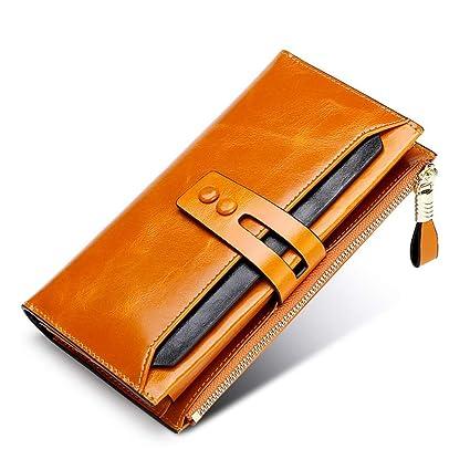 c4ad08d82 Cartera para Señorita Gran capacidad de las mujeres de lujo de cuero genuino  embrague larga cartera