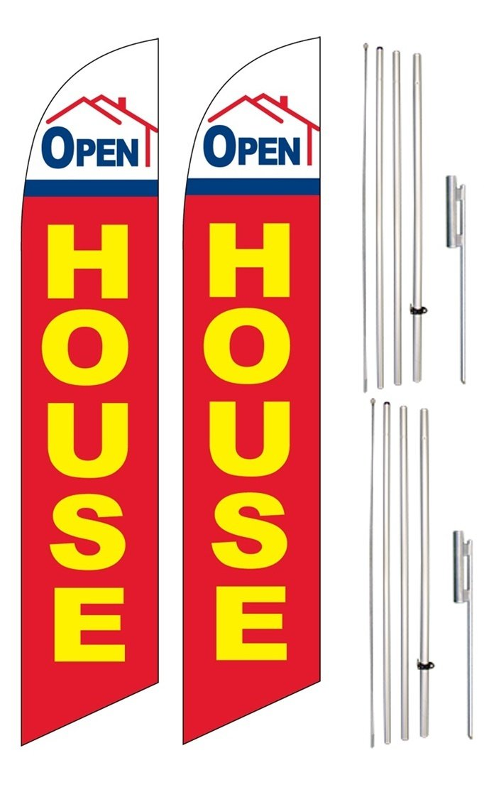 Windless Swooper Flag & Pole Kit Twin Pack OPEN HOUSE Red Yellow Blue Home Image