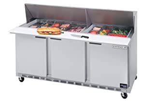 21.5 CuFt Three Section Sandwich Top Refrigerated Prep Table