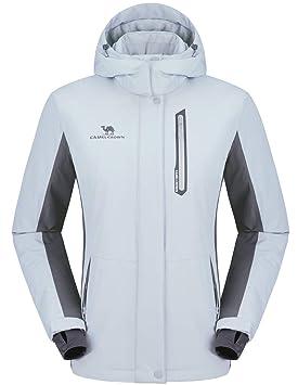 CAMEL CROWN Chaqueta Impermeable con Capucha para Mujer A Prueba de Viento Chaqueta de Esquí con Forro Polar Jacket Invierno para Montaña Acampada ...