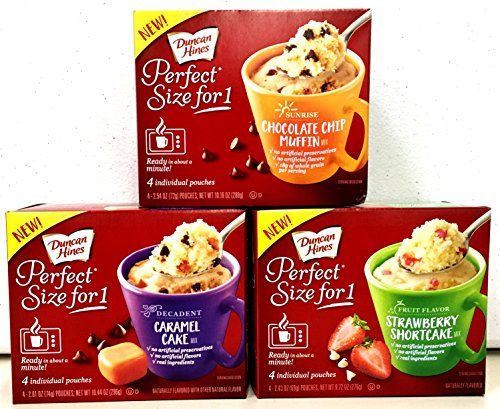 Duncan Hines PERFECT SIZE FOR ONE, Variety 3 Pack, 1 box each of CHOCOLATE CHIP MUFFIN, CARAMEL CAKE, STRAWBERRY SHORTCAKE + BONUS Package of Heavy Duty Plastic Spoons.