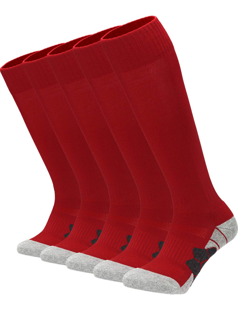Youth Kids Adult Knee High Cotton Basketball Socks Boys Girls Parent-Child Outdoor Active Long Towel Bottom Socks, 5-Pair Red, Size M (Kids 7C-10C / Youth 5Y-7Y / W 6-10 / M 6-8) by APTESOL