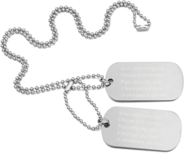 Customized Engraving MeMeDIY Black Silver Gold Two Tone Blue Stainless Steel Pendant Necklace Dog Tag,Come with Chain