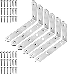 """TOPPROS Pack of 6 Stainless Steel L Corner Brackets Heavy Duty Corner Braces 5 inchx 3inch x 0.78"""", 6Hole 90 Degree Joint Right Angle L Shape Bracket for Wood Cabinets Furniture"""