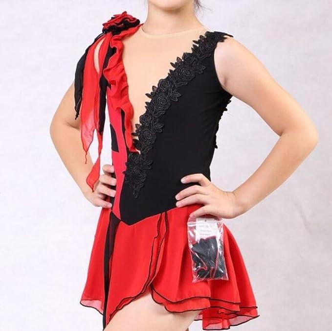 GZHGF Skating Dress Für Mädchen Chiffon Eiskunstlauf Wettbewerb ...