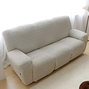 Stretch Recliner Slipcover, High Elastic Sofa Cover Jacquard Sofa Slipcover for Reclining Sofa Furniture Protector for 1 2 3 Cushion Couch -White-Sofa 210-240cm