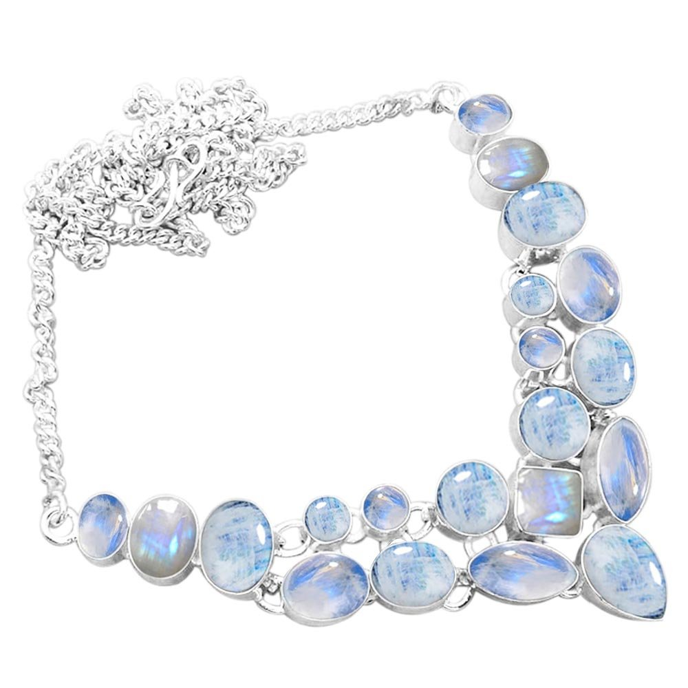 925 Silver Plated 45.30ctw Genuine Rainbow Moonstone Necklace
