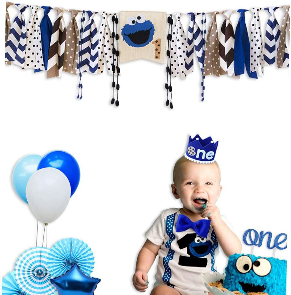 E&L Cookie Monster 3 in 1 Baby Boy High Chair Decorations Set, High Chair Banner & One Adventure Themed Crown & One Cake Topper, for Baby Boy Birthday Party Supplies