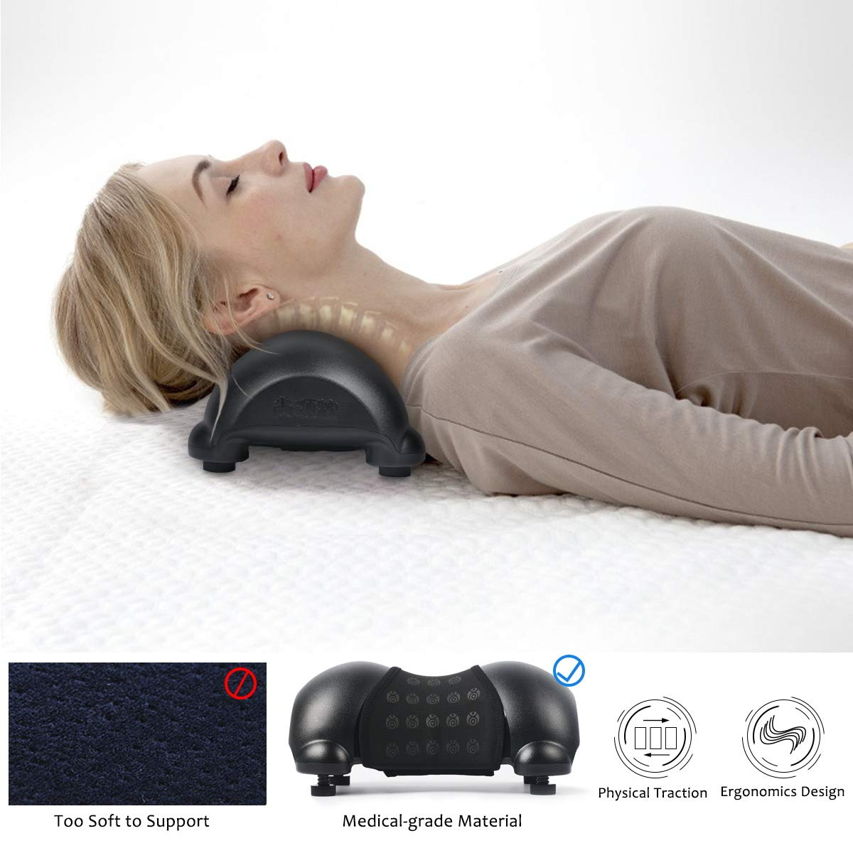 Cervical Neck Traction Device, Neck Pain Relief, Portable Cervical Orthotic Pillow- Adjustable Height with Removable and Washable Cover, Best Gift for Mom & Dad