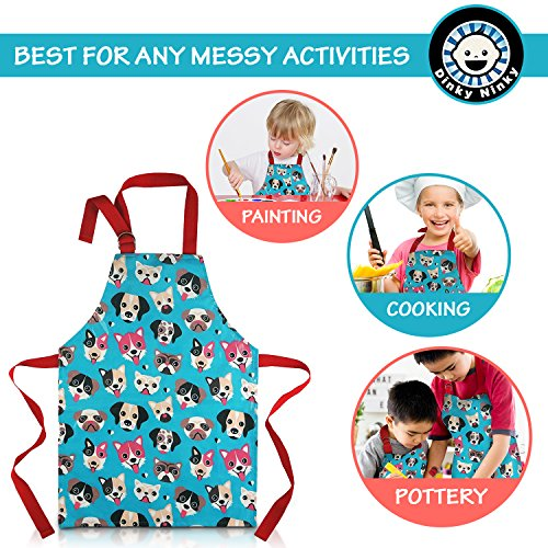 Child Apron For Cooking and Painting - Unique Cute Dog Print in Wipe Clean PVC Coated Cotton for Toddlers Age 4-7 (medium, blue) by Dinky Ninky (Image #3)