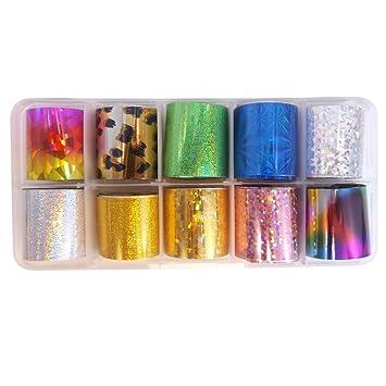 Amazon Warm Girl 10 Colors Nail Art Transfer Foil Nail Sticker