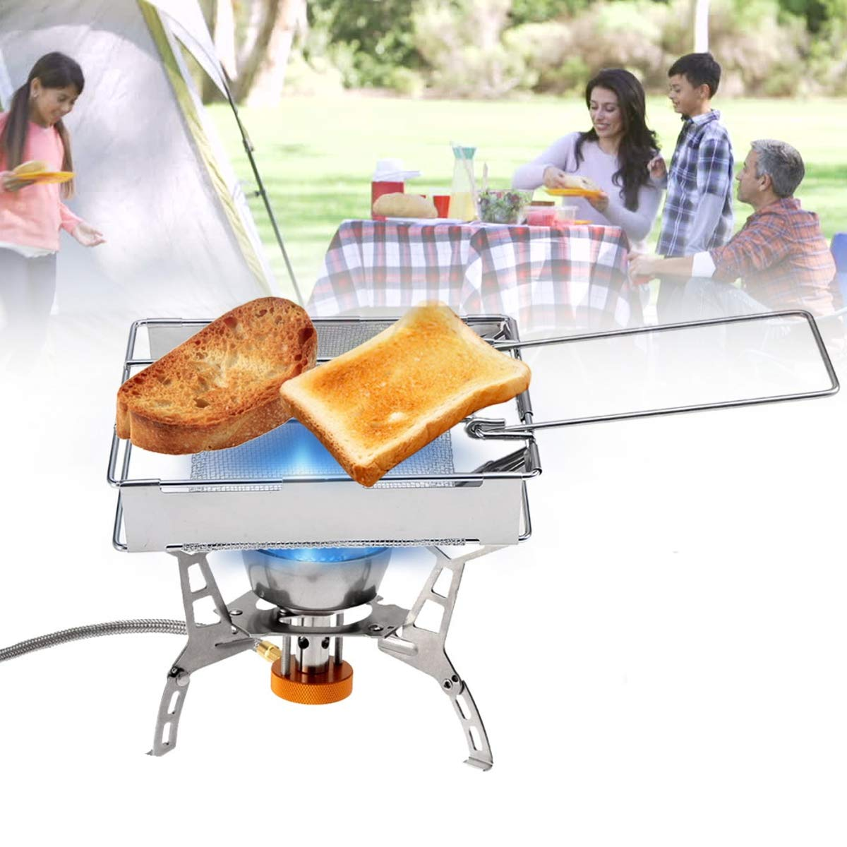 Portable Stove Toaster SENREAL Foldable BBQ Tray Rack Steel Cookware for Bread Toast