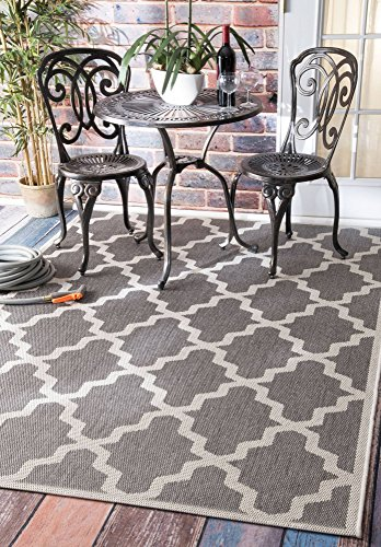(nuLOOM 100-Percent Polypropylene Machine Made Gina Outdoor Moroccan Trellis Area Rug, 5-Feet 11-Inch by 9-Feet, Grey)