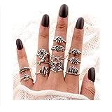 Hanloud Vintage Knuckle Rings Set Multi Cactus Crystal Crown Elephant Animal Stacking Rings 8/12/13 Pack