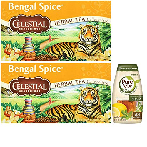 Celestial Seasonings Bengal Spice Herbal Tea. Pack of 2 with 1 Pure Via Stevia Drops. Easy One-Stop Shopping for the Best Herbal Tea. An Aromatic Herbal Spice Paradise! Includes Minty Choco Tea Sample