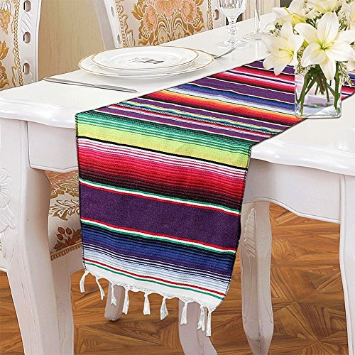 14 x 108 inch Mexican Table Runner for Mexican Party Decorations Fiesta Wedding Supplies, Cotton Mexican Serape Table Runner by Morinostation