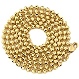 """LoveBling 10K Yellow Gold 3mm Italian Moon Cut Bead & Bar Chain Necklace with Lobster Lock (Available in 18"""" to 30"""")"""
