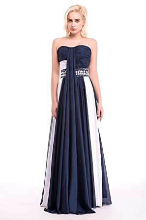 CEEWHY Patchwork Womens Formal Evening Gowns Floor Length Chiffon Prom Dresses Navy Blue - White -